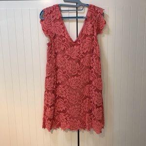 Coral Lace shift dress
